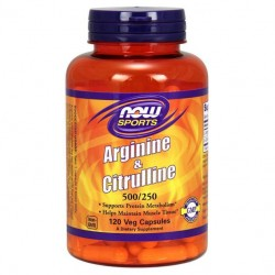 NOW Sports Arginine & Citrulline 120 капсул без вкуса