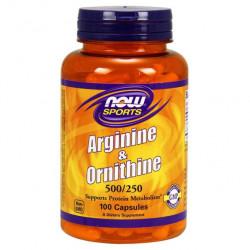 NOW Sports Arginine & Ornithine 250 капсул без вкуса