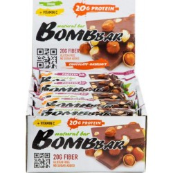 Протеиновый батончик Bombbar Natural Bar 20 шт x 60 г шоколад-фундук