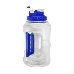 Бутылка для воды Be First без логотипа 2500 мл, прозрачная, синяя крышка, белый колпачок