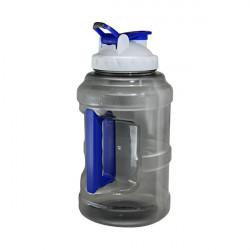 Бутылка для воды Be First без логотипа 2500 мл, черная, белая крышка, синий колпачок