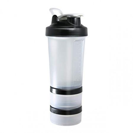 Шейкер Be First без логотипа 450 мл 3-в-1 прозрачный, черная крышка