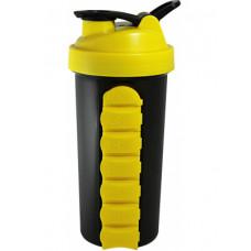 Шейкер Be First без логотипа 800 мл желтая крышка, желтая таблетница