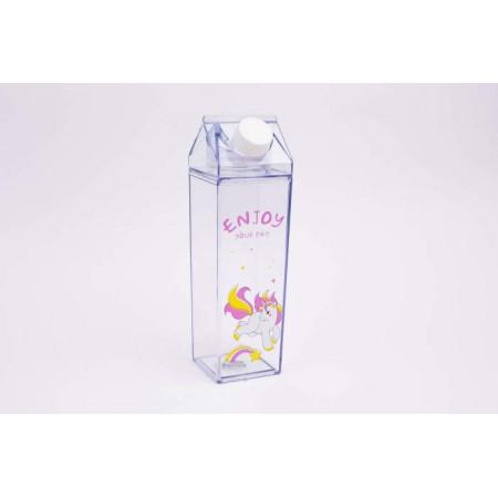 Квадратная бутылочка Unicorn: Enjoy your day, прозрачная