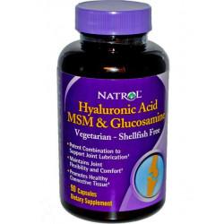 Комплексное средство Natrol Hyaluronic Acid + Glucosamine + Msm 90 капсул