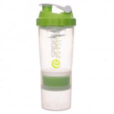 Gsi Шейкер Spider Bottle Maxi2Go 2 отсека 600 мл прозрачный/зеленый
