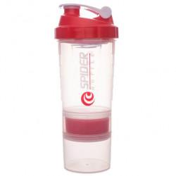 Gsi Шейкер Spider Bottle Maxi2Go 2 отсека 600 мл прозрачный/красный