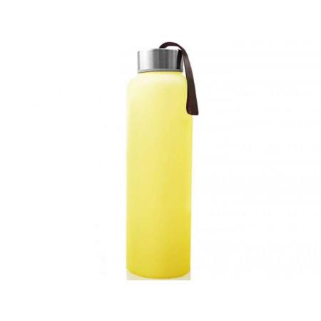 Стеклянная бутылочка для воды с защитным силиконовым покрытием, 400 мл - желтый