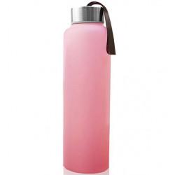 Стеклянная бутылочка для воды с защитным силиконовым покрытием, 400 мл - розовый
