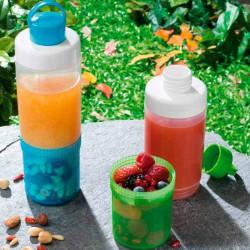 Бутылка для воды 500мл с контейнером для снеков 250мл SNIPS WATER TO GO, цвет синий