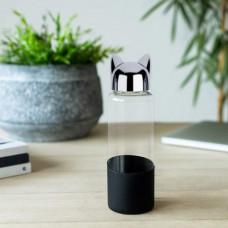 Бутылка для воды Cat 0.35л черная, Стекло/силикон, 6x6x20 см, Balvi
