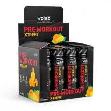 vplab Pre-Workout Xtreme Shot 80 мл, 12 шт, вкус: апельсин