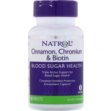 Natrol Витаминно-минеральный комплекс Natrol Cinnamon, Chromium & Biotin, 60 таб