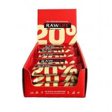 R.A.W. LIFE Протеиновые батончики 50 г, 20 шт, вкус: клубника-протеин
