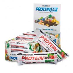 IronMan Батончики Protein Bar 50 г, 24 шт, вкус: клубника-белая глазурь