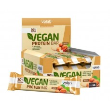 vplab Батончики Vegan Protein Bar 60 г, 12 шт, вкус: ореховый
