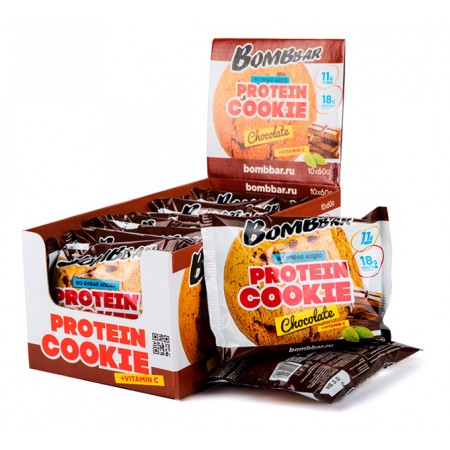 BOMBBAR Protein Cookie 60 г, 10 шт, вкус: шоколад