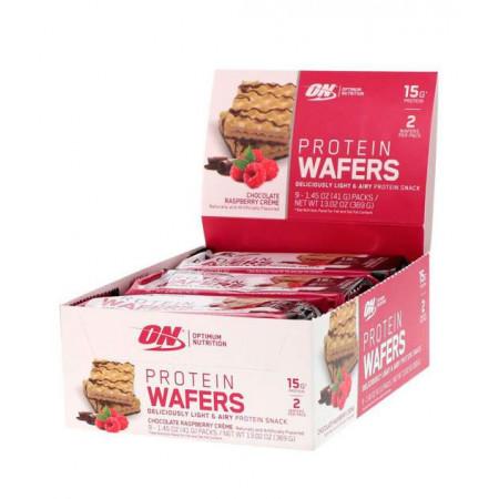 Optimum Nutrition Вафли Protein Wafers 40 г, 9 шт, вкус: шоколадно-малиновый крем