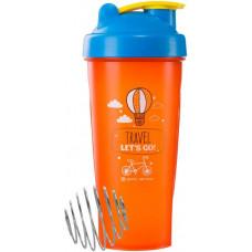 Спортивный элемент Шейкер Travel, 600 мл, цвет: оранжевый с голубой крышкой