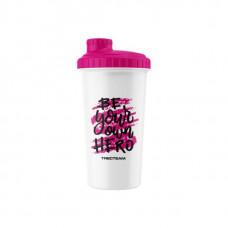 Trec Nutrition Шейкер Be Your Own Hero, 700 мл, цвет: белый-розовый