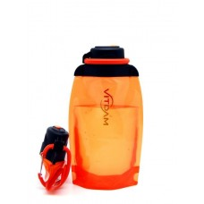 Складная эко бутылка VITDAM, оранжевая, объем 500 мл - артикул B050ORS