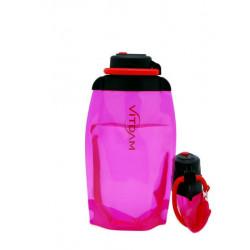 Складная эко бутылка VITDAM, розовая, объем 500 мл - артикул B050PIS
