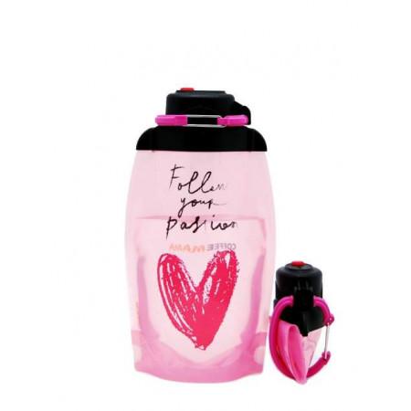Складная эко бутылка VITDAM, розового цвета с рисунком, объем 500 мл - артикул B050APS