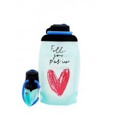 Складная эко бутылка VITDAM, голубого цвета с рисунком, объем 500 мл - артикул B050SBS