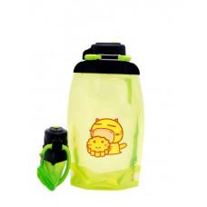 Складная эко бутылка VITDAM, желто-зеленая, объем 500 мл - артикул B050YGS-209 с рисунком