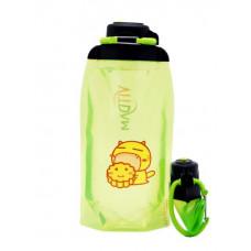 Складная эко бутылка VITDAM, желто-зеленая, объем 860 мл - артикул B086YGS-209 с рисунком