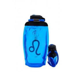Складная эко бутылка VITDAM, синяя, объем 500 мл - артикул B050BLS-1202 рисунок LEO/ЛЕВ