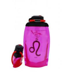 Складная эко бутылка VITDAM, розовая, объем 500 мл - артикул B050PIS-1202 рисунок LEO/ЛЕВ