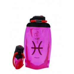 Складная эко-бутылка Vitdam, розовая, 500 мл, Pisces/Рыбы