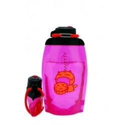 Складная эко бутылка VITDAM, розовая, объем 500 мл - артикул B050PIS-209 с рисунком