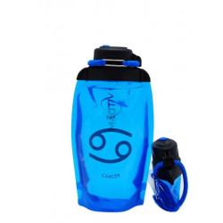 Складная эко бутылка VITDAM, синяя, объем 500 мл - артикул B050BLS-1210 рисунок CANCER/РАК