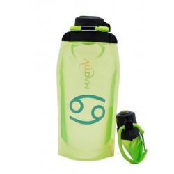 Складная эко-бутылка Vitdam, желто-зеленая, 860 мл, Cancer/Рак