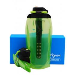 Складная эко бутылка VITDAM, желто-зеленая, объем 860 мл B086YGS/UF с UF/ACF фильтром