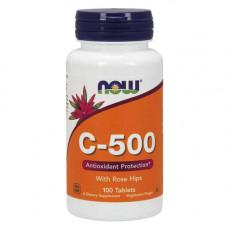 Витаминно-минеральный комплекс NOW Sports C-500 with Rose Hips 100 таблеток