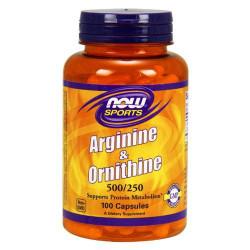 NOW Sports Arginine & Ornithine 100 капсул без вкуса