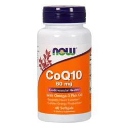 NOW CoQ10 60 мг + Омега 3 - 60 капсул - омега коэнзим q10 кардио протектор