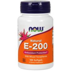 Витамин E NOW Sports E-200 Mixed Tocopherols 100 капсул