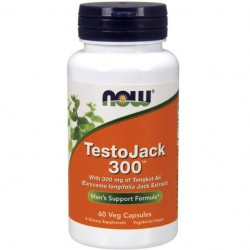 NOW TestoJack 300 - 60 капсул - Тонгкат Али экстракт экстракт эврикомы длиннолистной