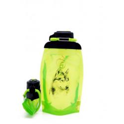 Складная эко бутылка, желто-зеленая, объём 500 мл - артикул B050YGS-1303 с рисунком