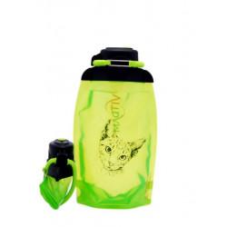 Складная эко бутылка, желто-зеленая, объём 500 мл - артикул B050YGS-1302 с рисунком