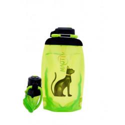 Складная эко бутылка, желто-зеленая, объём 500 мл - артикул B050YGS-610 с рисунком
