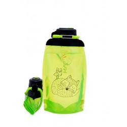 Складная эко бутылка, желто-зеленая, объём 500 мл - артикул B050YGS-1304 с рисунком