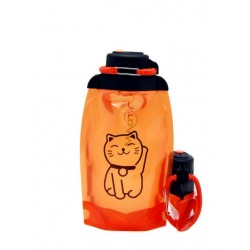 Складная эко бутылка, оранжевая, объём 500 мл - артикул B050ORS-1305 с рисунком
