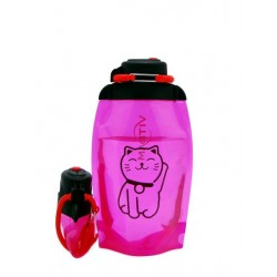 Складная эко бутылка, розовая, объём 500 мл - артикул B050PIS-1305 с рисунком