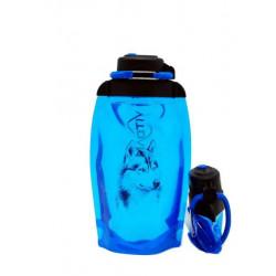 Складная эко бутылка, синяя, объём 500 мл - артикул B050BLS-1303 с рисунком