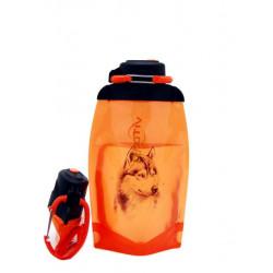 Складная эко бутылка, оранжевая, объём 500 мл - артикул B050ORS-1303 с рисунком
